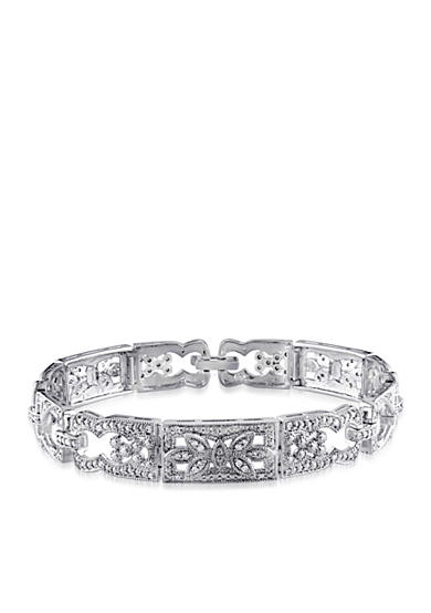 Belk & Co. Diamond Etched Link Bracelet in Sterling Silver