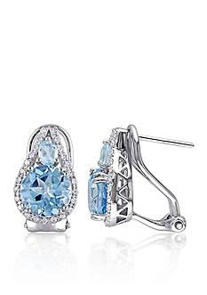 Belk & Co. Sterling Silver Blue Topaz and Diamond Earrings