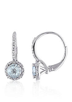 Belk & Co. Sterling Silver Aquamarine and Diamond Earrings