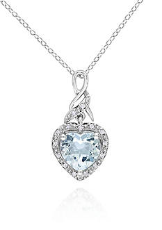 Belk & Co. Sterling Silver Aquamarine and Diamond Heart Pendant