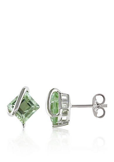Belk & Co. Green Amethyst Earrings in Sterling Silver