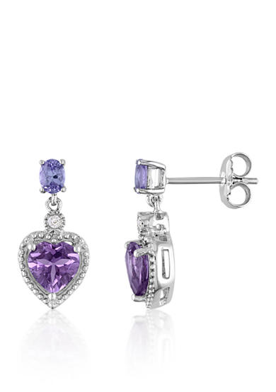 Belk & Co. Amethyst, Tanzanite, and Diamond Heart Earrings in Sterling Silver