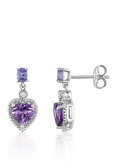 Belk & Co. Amethyst, Tanzanite, and Diamond Heart Earrings in Sterling Silver