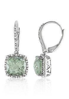 Belk & Co. Green Amethyst and Diamond Earrings in Sterling Silver