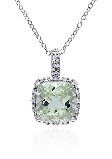 Belk & Co. Green Amethyst and Diamond Pendant in Sterling Silver