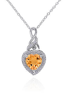 Belk & Co. Sterling Silver Citrine and Diamond Pendant