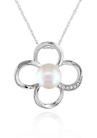 Belk & Co. 10k White Gold Cultured Freshwater Pearl and Diamond Flower Pendant