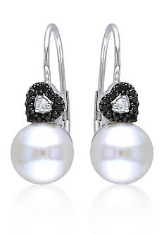 Belk & Co. 10k White Gold Cultured Freshwater Pearl and Black and White Diamond Heart Earrings