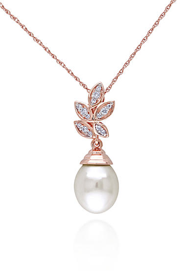 Belk & Co. 10k Rose Gold Cultured Freshwater Pearl and Diamond Pendant