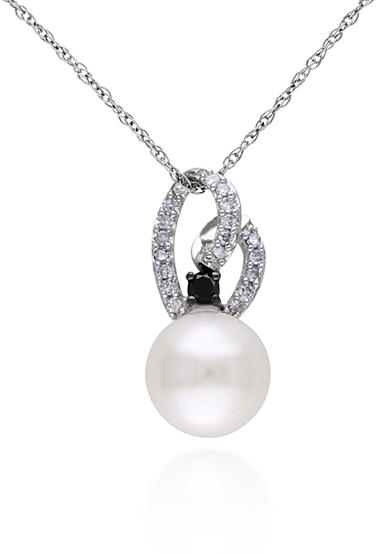 Belk & Co. 10k White Gold Cultured Freshwater Pearl and White and Black Diamond Pendant