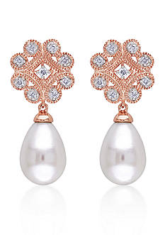 Belk & Co. 10k Rose Gold Cultured Freshwater Pearl and Diamond Earrings