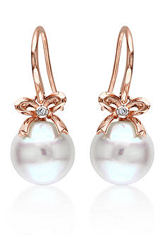 Belk & Co. 10k Rose Gold Cultured Freshwater Pearl and Diamond Bow Earrings