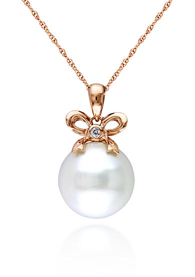 Belk & Co. 10 Rose Gold Cultured Freshwater Pearl and Diamond Bow Pendant