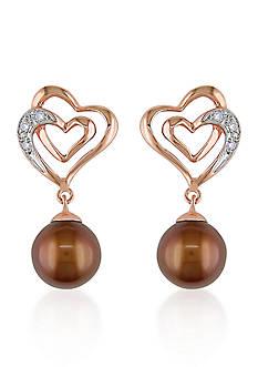 Belk & Co. 10k Rose Gold Brown Cultured Freshwater Pearl and Diamond Heart Earrings