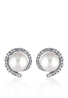 Belk & Co. 10k White Gold Cultured Freshwater Pearl and Diamond Stud Earrings