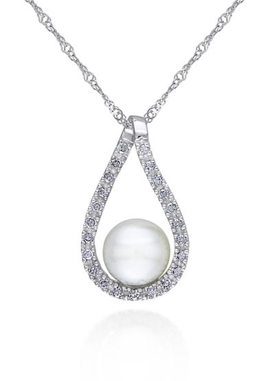 Belk & Co. 14k White Gold Cultured Freshwater Pearl and Diamond Pendant