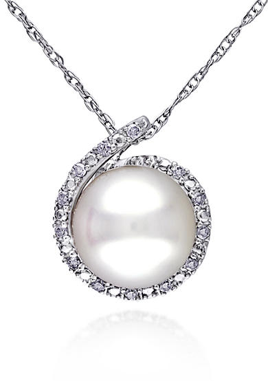 Belk & Co. 10k White Gold Cultured Freshwater Pearl and Diamond Pendant