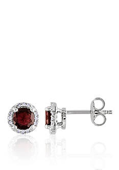 Belk & Co. Garnet and Diamond Earrings in Sterling Silver