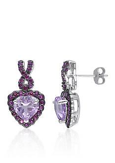 Belk & Co. Rose de France Amethyst and Purple Garnet Heart Earrings in Sterling Silver