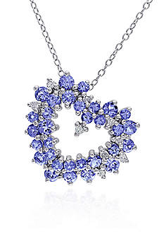 Belk & Co. Sterling Silver Tanzanite and Diamond Heart Pendant