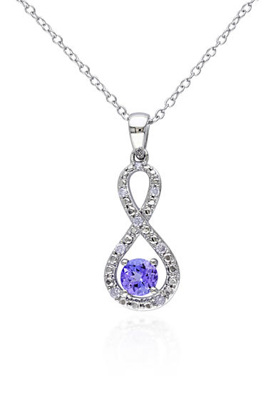 Belk & Co. Sterling Silver Tanzanite and Diamond Infinity Pendant