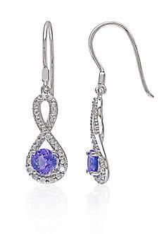 Belk & Co. Sterling Silver Tanzanite and Diamond Infinity Earrings