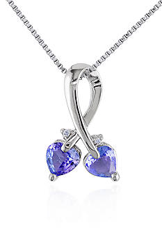 Belk & Co. Sterling Silver Tanzanite and Diamond Heart Pendant