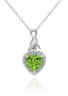 Belk & Co. Sterling Silver Peridot and Diamond Heart Pendant