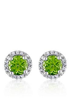 Belk & Co. Sterling Silver Peridot and Diamond Stud Earrings