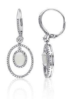 Belk & Co. Sterling Silver Opal and Diamond Earrings