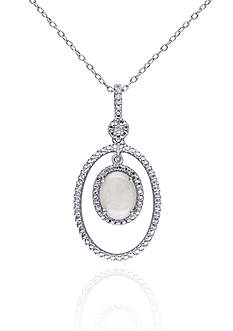 Belk & Co. Sterling Silver Opal and Diamond Pendant