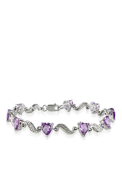 Belk & Co. Sterling Silver Amethyst and Diamond Heart Bracelet
