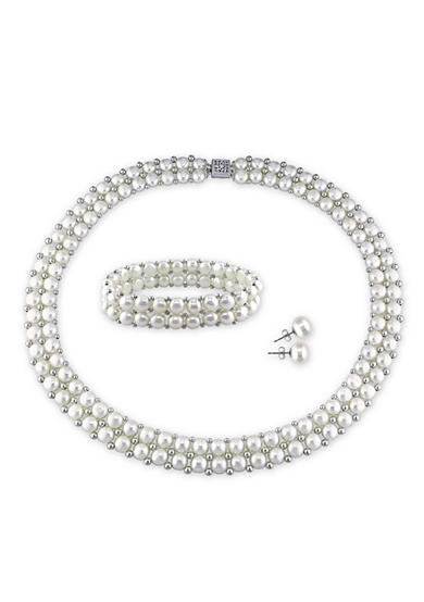 Belk & Co. Sterling Silver White Cultured Freshwater Pearl and Silver Bead Necklace, Bracelet and Earring Set
