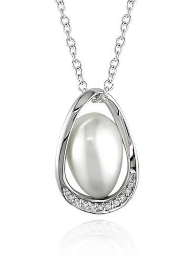 Belk & Co. Sterling Silver White Cultured Freshwater Pearl and Diamond Pendant