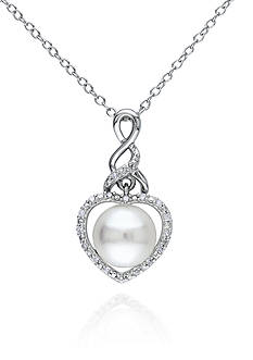 Belk & Co. Sterling Silver White Cultured Freshwater Pearl and Diamond Heart Pendant