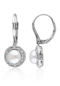 Belk & Co. Sterling Silver White Cultured Freshwater Pearl and Diamond Earrings