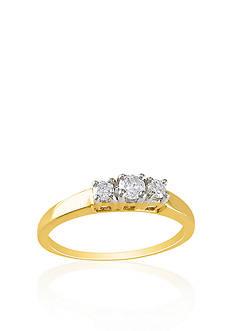 Belk & Co. 1/4 ct. t.w. Diamond Three Stone Ring in 14k Yellow Gold