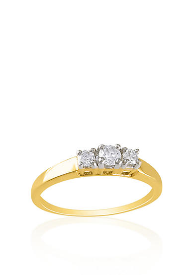 Belk & Co. 1/4 ct. t.w. Diamond Three Stone Ring in 14k Yellow Gold<br>