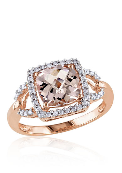 Belk & Co. 10k Rose Gold Morganite and Diamond Ring