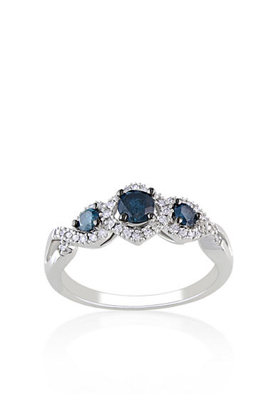 Belk & Co. Blue and White Diamond 3 Stone Ring in 14k White Gold<br>