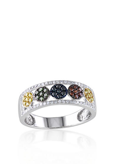 Belk & Co. Multi Color Diamond Ring in Sterling Silver