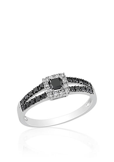 Belk co black and white diamond ring in 10k white gold for Belk fine jewelry rings