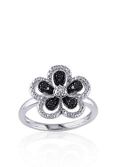 Belk & Co. Black and White Diamond Flower Ring in Sterling Silver