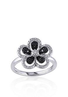 Belk & Co. Black and White Diamond Flower Ring in Sterling Silver