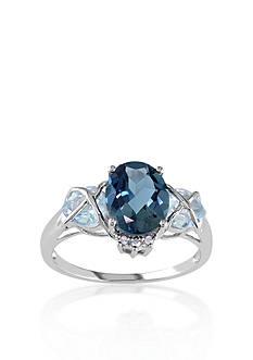 Belk & Co. 10k White Gold London Blue Topaz and Diamond Ring