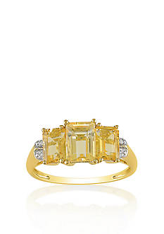 Belk & Co. 10k Yellow Gold 3 Stone Citrine and Diamond Ring
