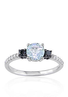 Belk & Co. 10k White Gold Aquamarine and Black and White Diamond Ring