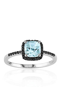 Belk & Co. 10k White Gold Aquamarine and Black Diamond Ring