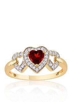 Belk & Co. 10k Yellow Gold Garnet and Diamond Heart Ring