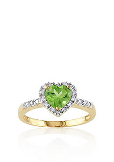 Belk & Co. 10k Yellow Gold Peridot and Diamond Heart Ring